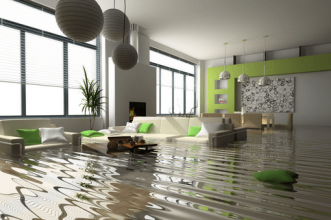 A room flooded with water. Get renters insurance.